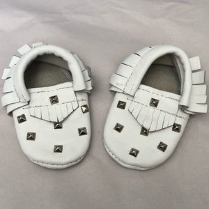 Other - White Creme Moccasins with Silver Studs